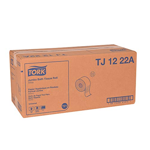 """Tork Universal TJ1222A Jumbo Bath Tissue Roll, 2-Ply, 11.75"""" Dia., 3.55"""" Width x 2,000' Length, White (Case of 6 Rolls, 2,000 in keeping with Roll, 12,000 Feet)"""