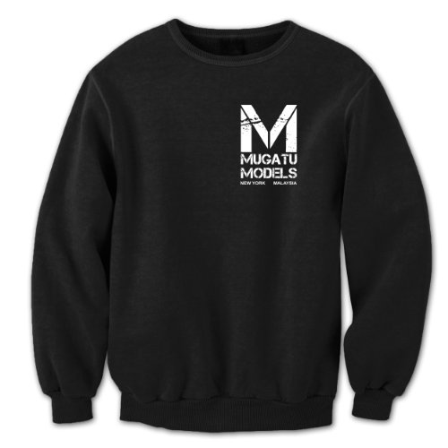 Funny Threads Outlet Mugatu Models Chest Logo Crewneck Sweatshirt Black Medium ()