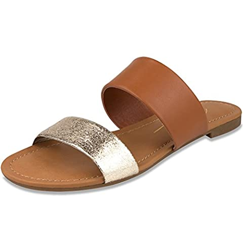 Mari A Women's Mara Sandal 8 Cognac and Gold - Iona Flat Shoe