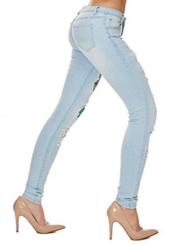Cut Jeans D1709 Arizonashopping Stampati Hosen Strappato out Delle Azzurro Donne Stretch nYqBzq5a