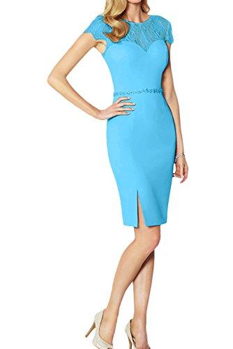 Rund Kurzarm Ivydressing Spitze Neu Modisch Damen mit Blau Partykleider Abendkleider 2017 Cocktailkleider wrrXYvq