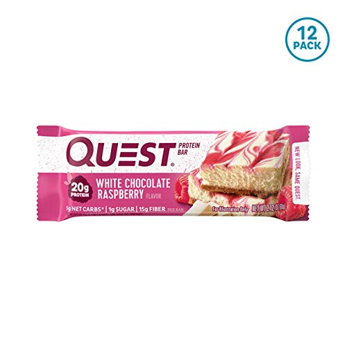Quest Nutrition White Chocolate Raspberry Protein Bar, High Protein, Low Carb, Gluten Free, Keto Friendly, 12 Count
