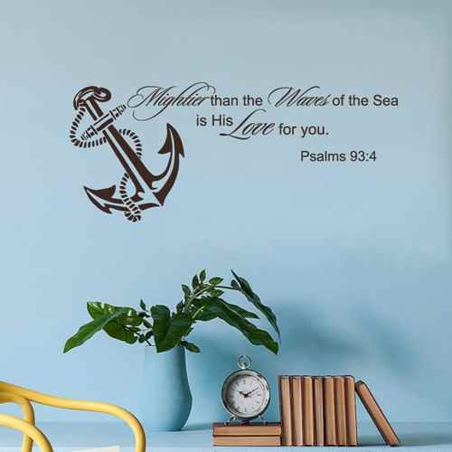 Mightier Than The Waves Of The Sea Psalm 93 4 Scripture Wall Decal Quote Anchor Home Decor (Black,xs)