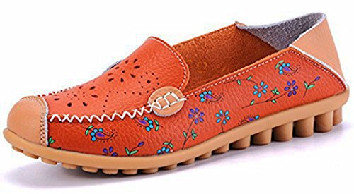 Women's Floral Print Cut Out Soft Leather Rubber Sole Penny Flats Loafers Shoes (Orange, 8 B(M) US) Leather Sole Padding