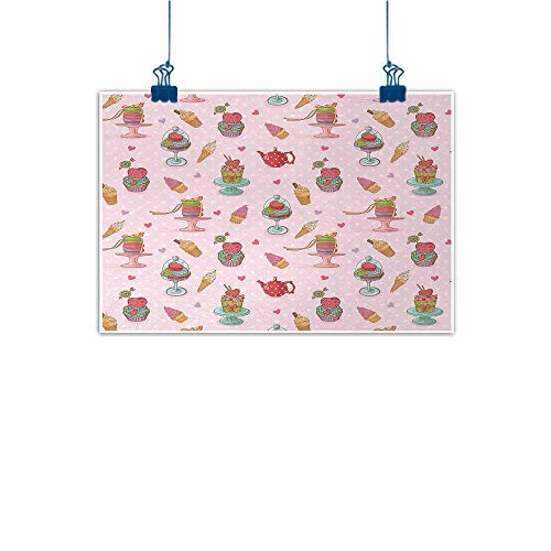(Outdoor Nature Inspiration Poster Wilderness Ice Cream,Retro Style Cupcakes Teapots Candies Cookies on Polka Dots Vintage Kitchen Print,Multicolor 20