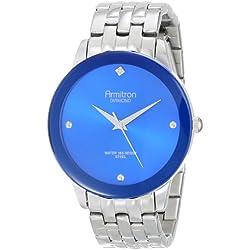 Armitron Men's 20/4952BLSV Stainless Steel Diamond-Accented Watch