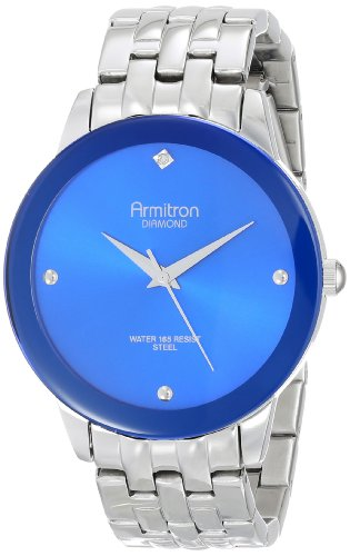 Mens Diamond Accent Watch - Armitron Men's 20/4952BLSV Stainless Steel Diamond-Accented Watch