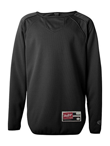 Rawlings Youth Flatback Mesh Long Sleeve Fleece Pullover (Black) (XL)