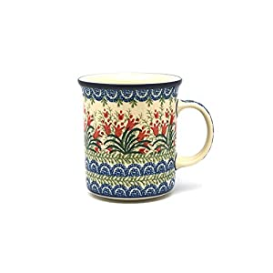 Polish Pottery Mug – Big Straight Sided – Crimson Bells
