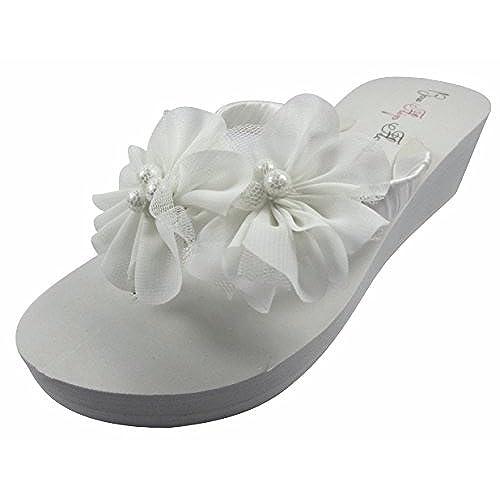 White Chiffon Flower Wedge Flip Flops 1.25 Inch Wedding Bridal Wedge Bride  Platform Heel Shoes Sandals Beach