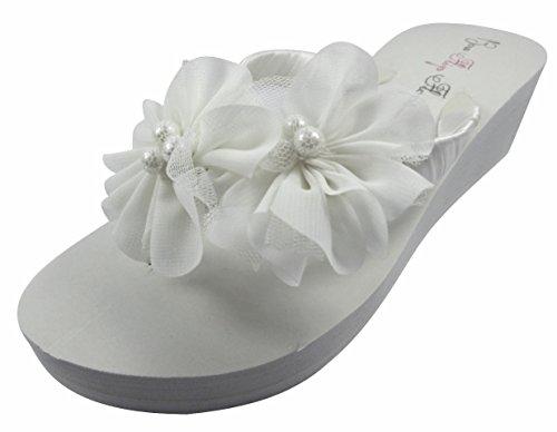 Boog Flip Flops Ivoor Wedge Flip Flops Bruiloft Bruids Witte Wig Bruid Platform Hiel Bloem Satijnen Schoenen Sandalen Strand Wit