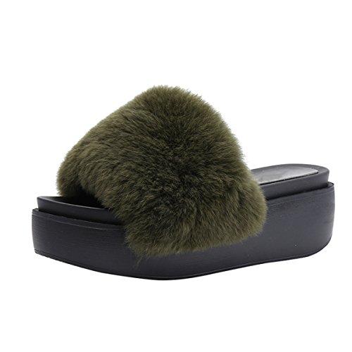 Faux Green On Platform Slide Slippers Fur Slip Flat Womens Sandal VFDB Creeper qI1UUP