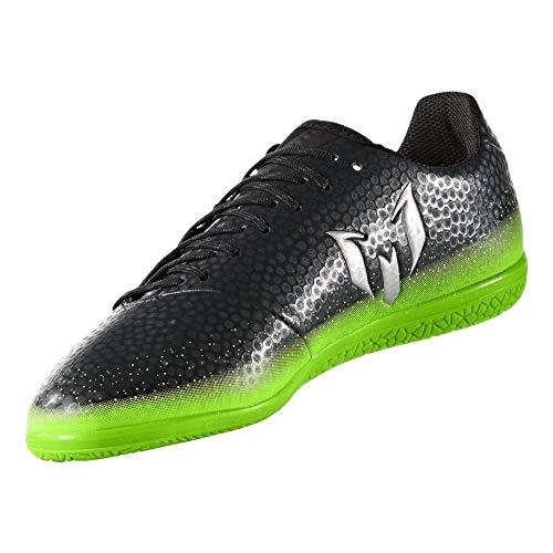 adidas Performance Kids' Messi 16.3 Indoor Soccer Shoe (Little Kid/Big Kid), Dark Grey/Metallic Silver/Neon Green, 5.5 M US Big Kid (Indoor Soccer Shoes Messi Kids)