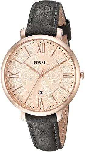 Fossil Womens Leather Dress Watch (Fossil Women's ES3707 Jacqueline Three Hand Leather Watch - Grey and Rose)