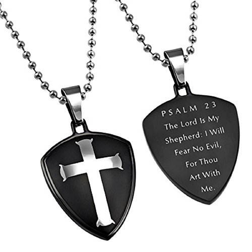 Psalm 23 Black Cross Shield Pendant Necklace in Gift Bag 3 Chains Styles To Choose -