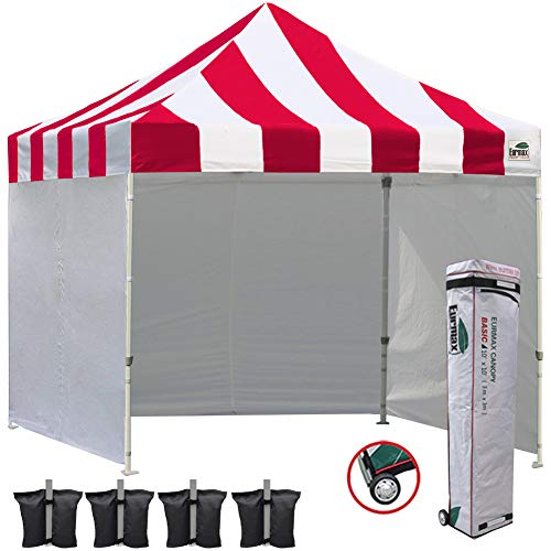 Eurmax 10x10 Ez Pop Up Canopy Outdoor Canopy Instant Tent with 4 Zipper Sidewalls and Roller Bag,Bouns 4 Weight Bags (Striped Red)