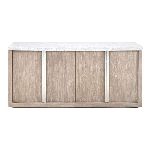 (Benjara BM196366 Wooden Buffet with Two Double Door Storage Cabinets, Brown and White )