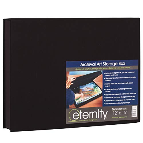 HG Concepts Art Photo Storage Box Eternity Archival Clamshell Box For Storing Artwork, Photos & Documents Deluxe Acid-Free Sturdy & Lined With Archival Paper - [Black - 12