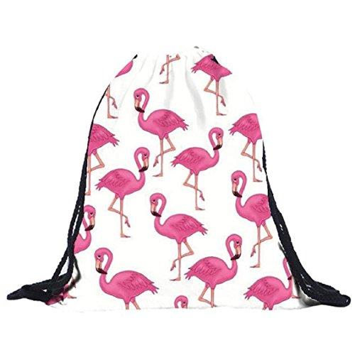 Bird Shoulders Retro with Shopping Unisex Rucksack Bag Pic Bags Backpacks Women Polyester White Hot Bags Knapsack pink Transer® Drawstring Rucksack Girls xawB7q087