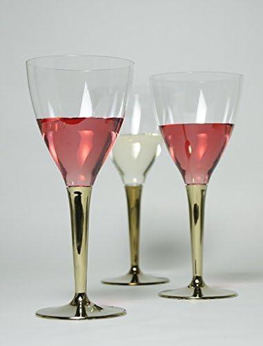 ワイングラス ゴールドステム8個セット