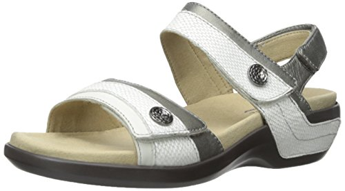 Aravon Women's Katherine-AR Flat Sandal,White/Multi,9 B US