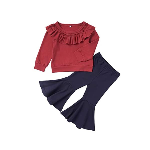 Kerrian Online Fashions 41QyuT3GHYL 2PCS Toddler Baby Girls Clothes Ruffle Long Sleeve T-Shirt Tops+ Flare Pants Autumn Outfits for Girls