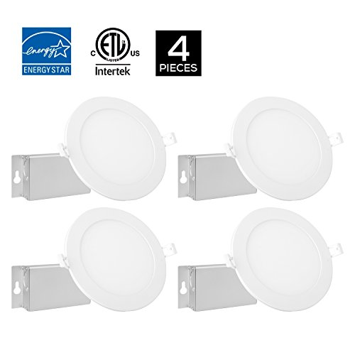 4Pack Dimmable 6inch 12W Round White Trim Panel Ceiling Light Fixture 3000K Warm White,950LM, ETL Approved, With Junction Box by Kingliming