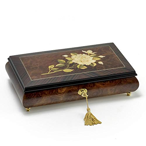 Handcrafted Italian Sorrento 18 Note Single Stem White Rose Musical Jewelry Box - Over 400 Song Choices - Home on The Range (Wood Stove Elm)