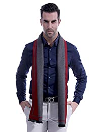 Men Patchwork Winter Scarf Korean Business Men Fashion Casual Scarves Warm Lightweight Long Muffler Wine Red & Gray