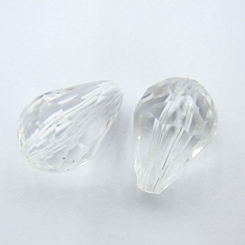 TheTasteJewelry 10x15mm Teardrop Cut Acrylic Bead - Lot 100 Pcs 2741 Jewelry Making Necklace Healing 15 Mm Clear Acrylic