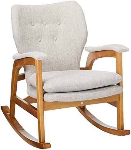 Christopher Knight Home Brannt Mid-Century Fabric Rocker, Wheat Light Walnut