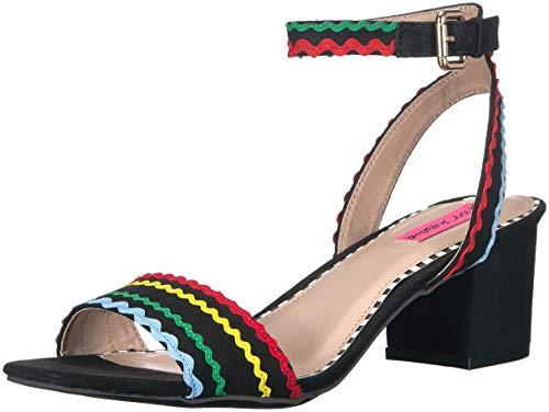(Betsey Johnson Women's Farrah Heeled Sandal, Black/Multi, 7.5 M)