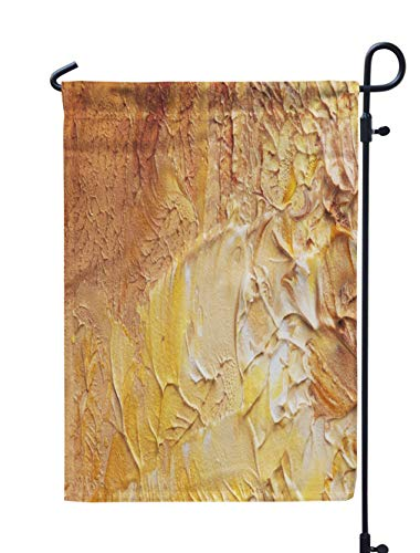(Soopat Oil Painting Seasonal Flag, Beige Oil Painting Oil Art Fine Brown Smear GalleryWeatherproof Double Stitched Outdoor Decorative Flags for Garden Yard 12''L x 18''W Welcome Garden Flag)