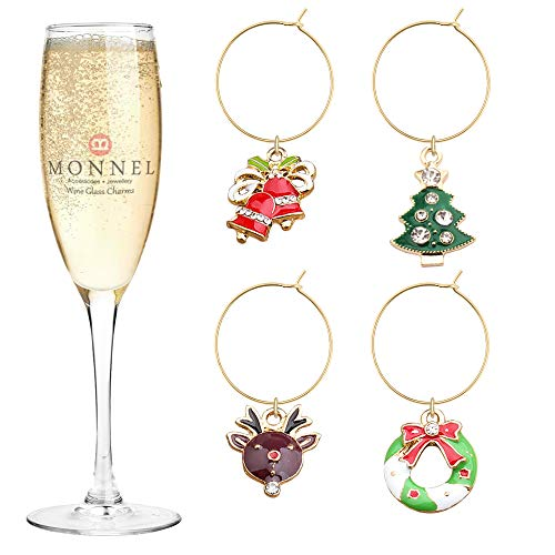 - P454 Brand New Cute Christmas Elk Garland Bell Tree Wine Charms Glass Marker for Party with Velvet Bag- Set of 4