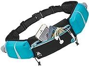 Athlé Running Belt - 2 10oz Water Bottles, Large Fanny Pack Pocket Fits All Phones and Wallet, Bib Fasteners,