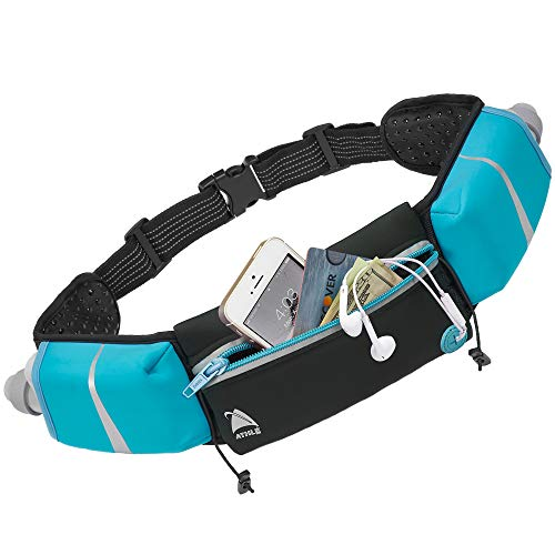 Athlé Running Belt - 2 10oz Water Bottles, Large Fanny Pack Pocket Fits All Phones and Wallet, Bib Fasteners, Adjustable One Size Fits All Waist Band, Key Clip, 360° Reflective - Blue Speed Sash
