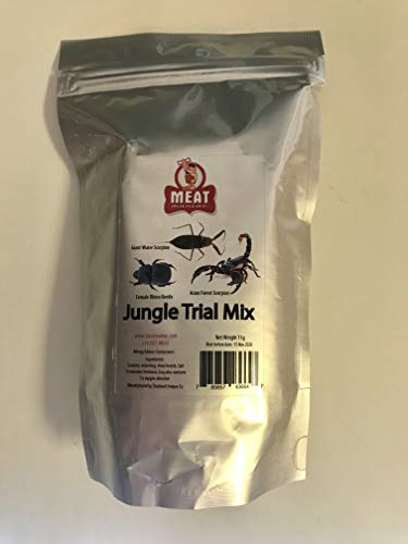 Meat Maniac Salted Jungle Trial Mix Assortment | Edible Insects | Asian Forest Scorpion, Female Rhino Beetle & Giant Waterbug (Edible Insects Chocolate)