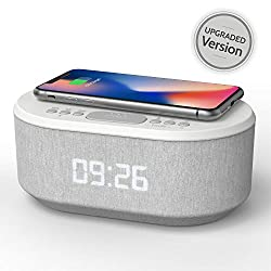 Bedside Radio Alarm Clock with USB Charger, Bluetooth Speaker, QI Wireless Charging, Dual Alarm & Dimmable LED Display (White)