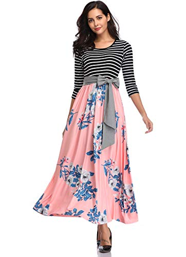 Sleeve Tie Waist Dress - MYSHOW Womens 3/4 Sleeve Striped Floral Print Patchwork Tie Waist Maxi Dress with Pockets-Pink-L