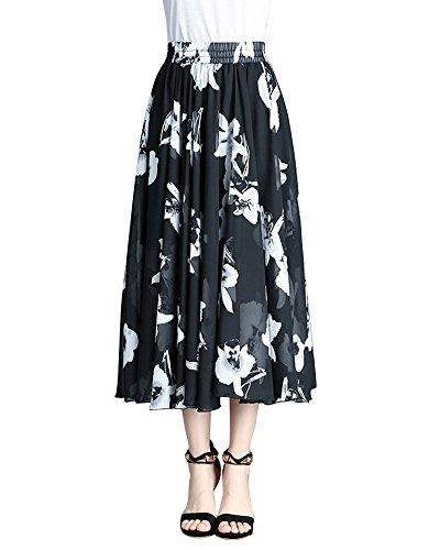 Femme Plisse en ete Fleur2 Longues Jupe de Longue Soie Mousseline Gitane lgante Jupe Jupes Longue Boheme 7wzBqUCpAx