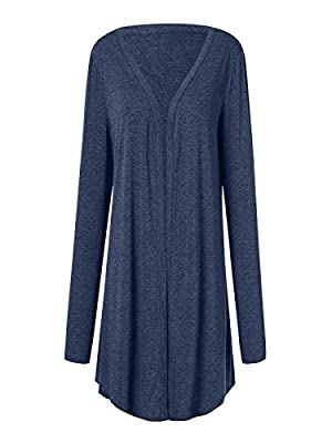 NUWFOR Women Casual Plus Size Long Sleeve Pure Color Fit Open Front Coat Outwear White