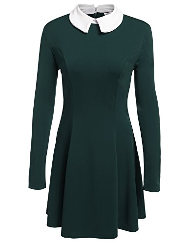 Zeagoo Women's Casual long Sleeve Doll Collar Dress Peter Pan Collar Work Office (Collared Dress Costume)