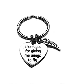 "Stainless Steel ""Thank You For Giving Me Wings To Fly"" Heart Charm, Keychain, Teacher, Parent Mentor Appreication Gift"