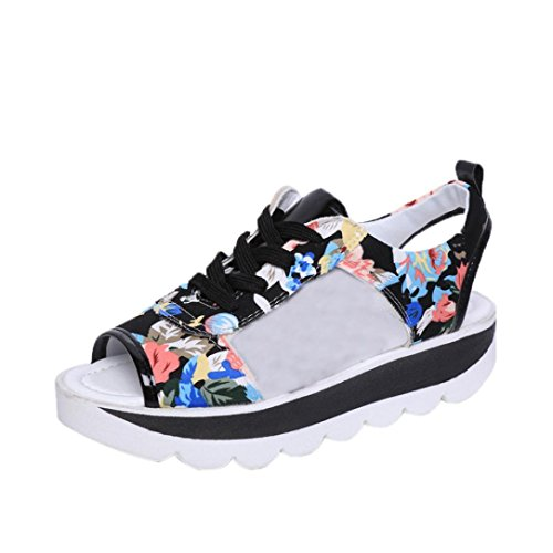 AutumnFall Women Bandage Fish Mouth Printing Platform Sandals Thick Soled Shoes (US:7, Black) by AutumnFall
