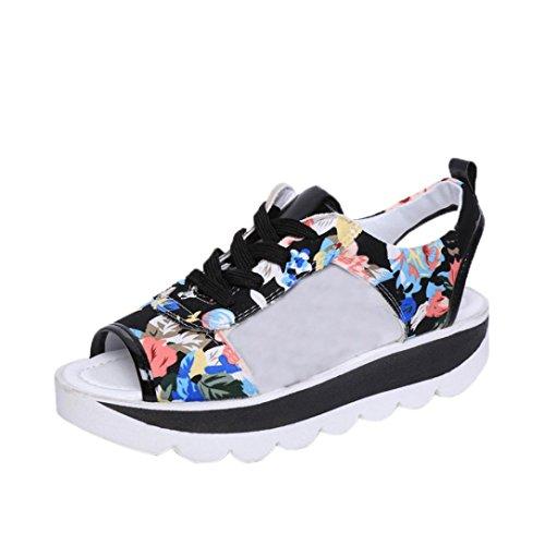 女性サンダル、aimtoppy春夏レディース女性ストラップ高パターン魚口印刷靴グラディエーターサンダル US:7 ブラック AIMTOPPY