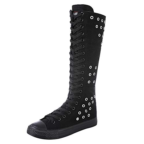 rismart Women Fashion Knee High Lace-Up Canvas Boots Pure Black Zip Dance Boots Eyelets SN813 US7.5