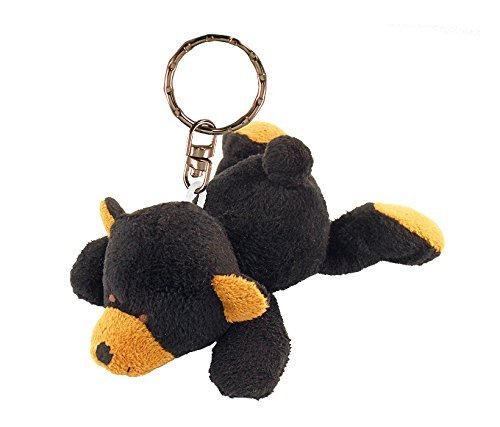 Puzzled Black Bear Plush Keychain ()