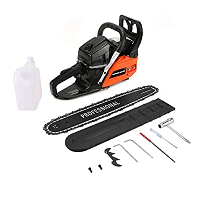 "Professional 20"" 62Cc 2 Cycle Gas Chainsaw with Double Spring Ste-5800 Orange & Black"