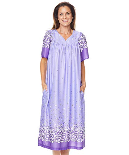 (AmeriMark Lounger House Dress with Pockets for Women Mumu Nightgown Plus Size)
