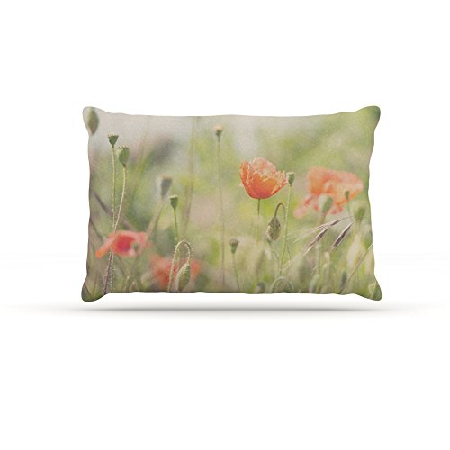 30 by 40\ Kess InHouse Laura Evans Fields of Remembrance  Green orange Fleece Dog Bed, 30 by 40